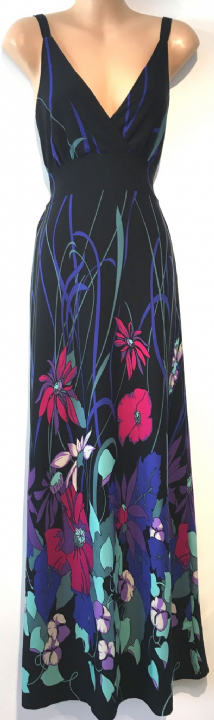 PUSSYCAT BLACK FLORAL PRINTED CROSS OVER MAXI DRESS SIZE S UK 8-10